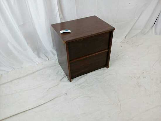 Dark Wood 2 Drawer Nightstand
