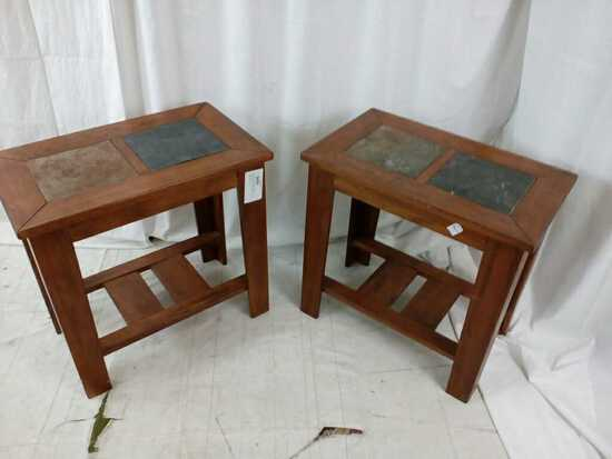 Pair Of Rectangular Wood End Tables