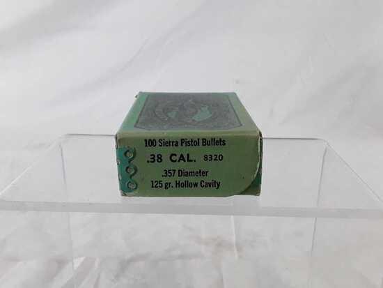1 BOX 100 SIERRA PISTOL BULLETS .38 CAL