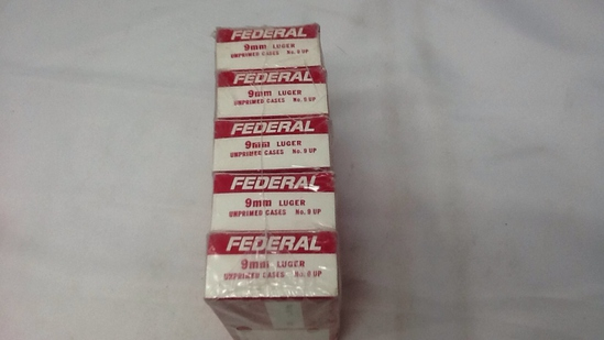 5 BOXES OF FEDERAL 9MM LUGER UNPRIMED CASES