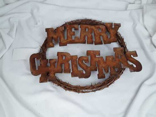 BARBED WIRE MERRY CHRISTMAS WREATH