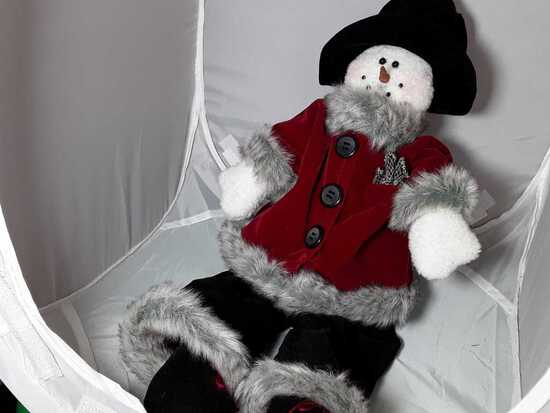 SHELF SITTING SNOWMAN DRESSED IN VELVET CLOTHES