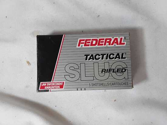 1 BOX OF FEDERAL 12 GA RIFLED SLUG (AMMO)