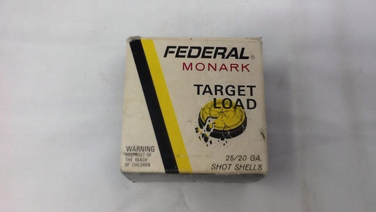 1 BOX FEDERAL MONARK TARGET LOAD 20 GAUGE AMMO