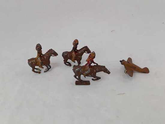 3 METAL HORSES AND 1 METAL PLANE