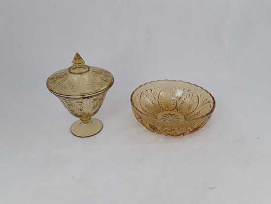Amber Glass Bowl and Covered Dish