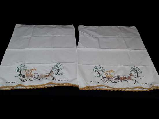 SET OF EMBROIDERED PILLOWCASES W/HORSE & BUGGY
