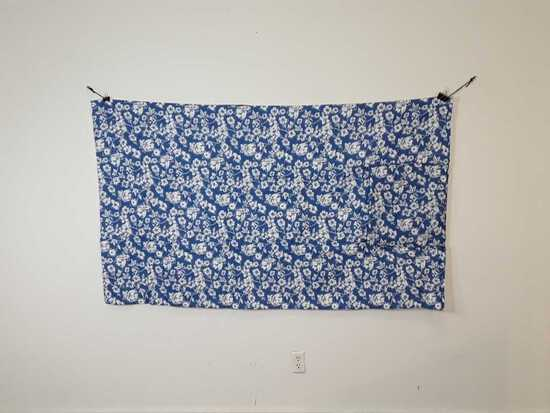 "44"" X 74"" BLUE FLORAL PILLOW QUILT"