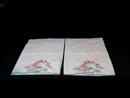 SET OF EMBROIDERED PILLOWCASES W/ORANGE FLOWERS