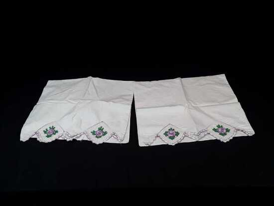 SET OF EMBROIDERED PILLOWCASES W/PURPLE FLOWERS