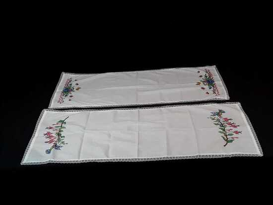 2 EMBROIDERED DRESSER SCARVES BRIGHT COLORS