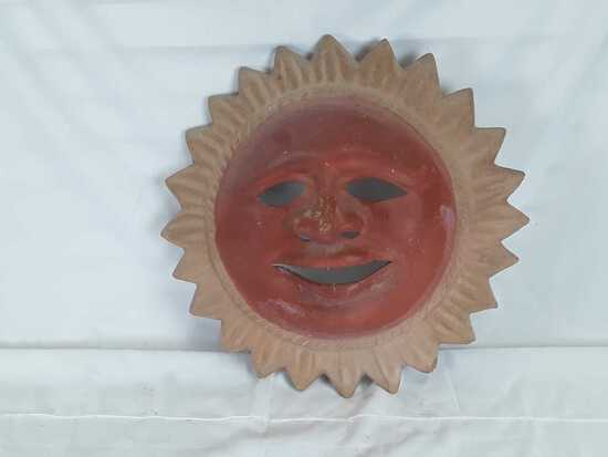 HANGING TERRACOTTA SUN WITH FACE