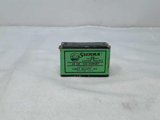 1 BOX OF SIERRA 22 CAL BULLETS