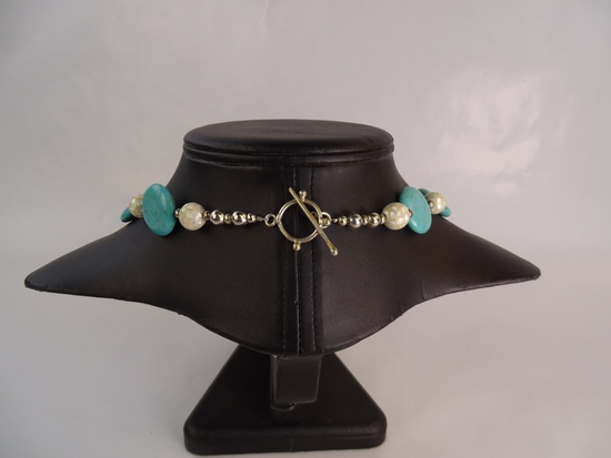 Turquoise & MOP Silvertone Necklace 22""