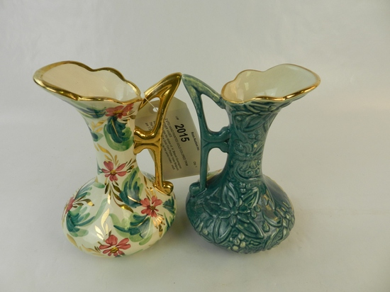 2 VTG HAND PAINTED GOLD COLORED TRIM PITCHER VASES