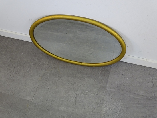 LARGE FRAMED OVAL MIRROR BEVELED EDGE