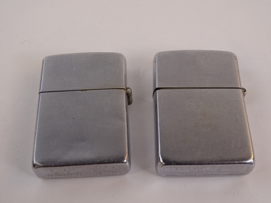 2 ZIPPO LIGHTERS, 1 NO ENGRAVING, 1 LACKLAND AFB
