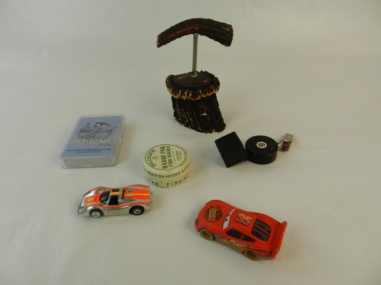 MISC COLLECTABLES. 2 TOY CARS, DECK OF CARDS,HOOKS