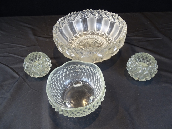 MISC. CUT GLASS BOWLS/DISHES