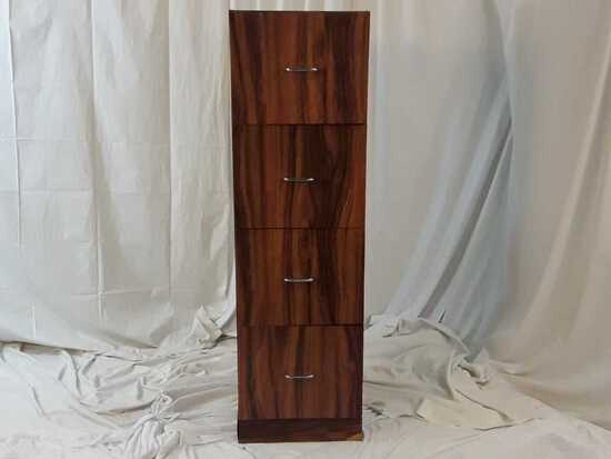 FOUR DRAWER WOOD FILING CABINETW/HANGING FILES