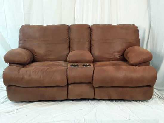 FAUX LEATHER DOUBLE RECLINER W/STORAGE