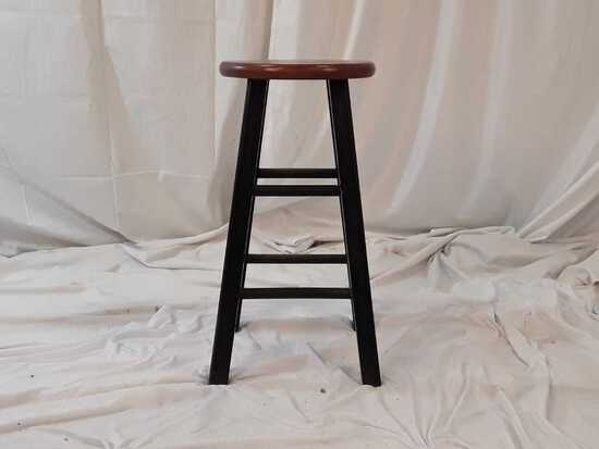WOODEN STOOL W/BLACK COLORED LEGS
