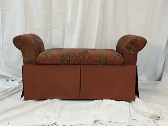 UPHOLSTER ROLLED ARM BENCH
