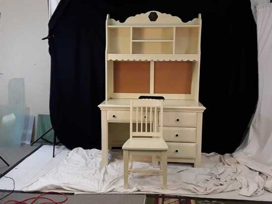 2 PC DESK WITH CORK BOARD BACKIING & CHAIR