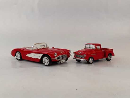 2 DIE CAST NOT IN CASES, '57 CORVETTE, '55 CHEVY P
