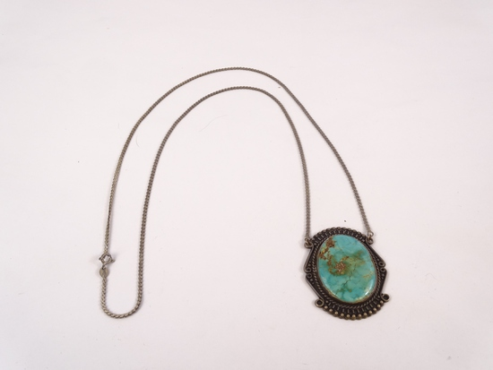 Sterling Turquoise Serpentine Necklace, 37g