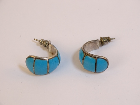 Sterling Turquoise Half Hoop Earrings, 6g (0.2oz)