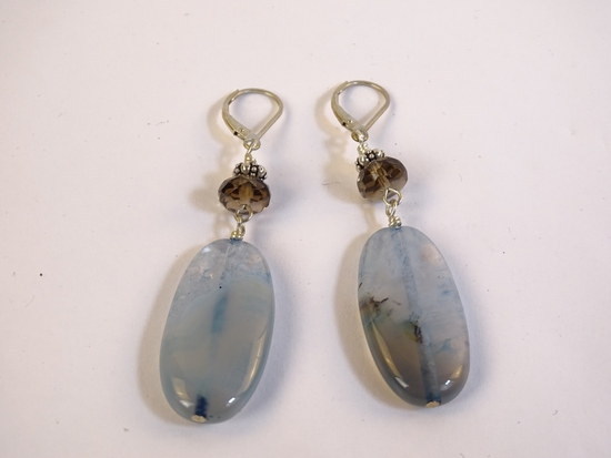 Sterling Blue-Copper Stone Drop Earrings