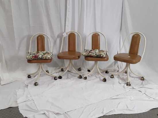 SET OF 4 RETRO ROLLING CHAIRS.