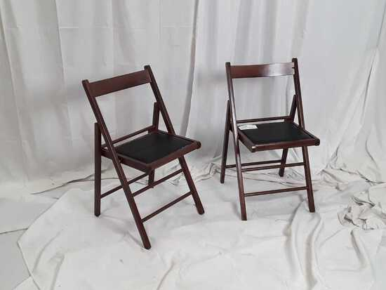 2 SMALL WOOD & FAUX LEATHER FOLDING CHAIRS