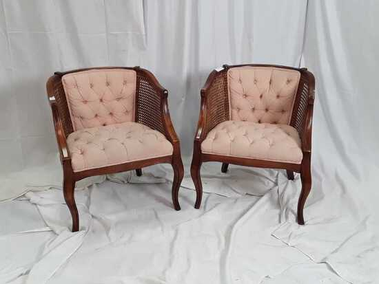 PAIR OF WOOD / RATTAN CHAIRS