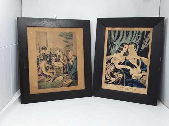 2 COURIER PRINTS IN HANDMADE WOODEN FRAMES