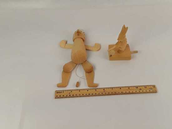 2 WOODEN HAND CARVED RUSSIAN TOYS