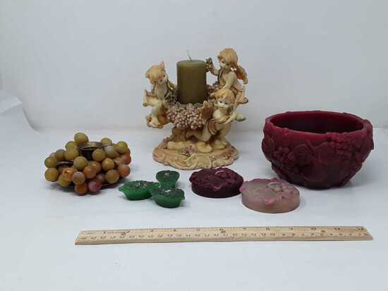 SET OF GRAPE THEMED CANDLE HOLDERS