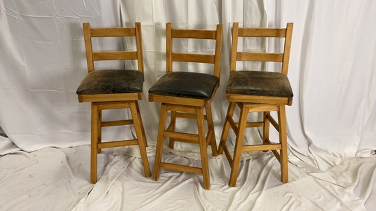 3 Heavy Wood and Leather Barstools