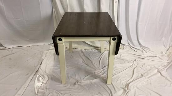 Dark Wood White Leg Drop Leaf Dining Table.