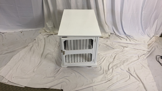 White Dog Kennel End Table