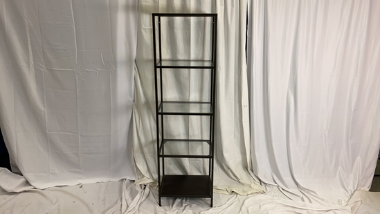 Tall Glass Metal and Wood Shelving Unit.