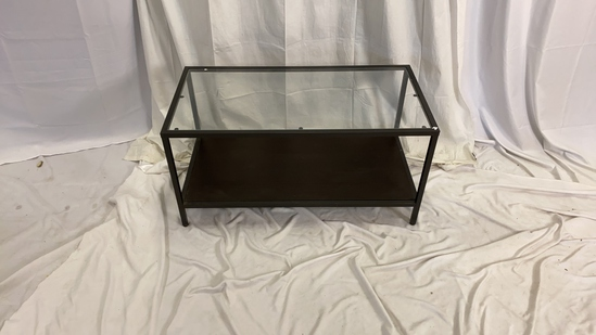 Glass Metal and Wood Coffee Table
