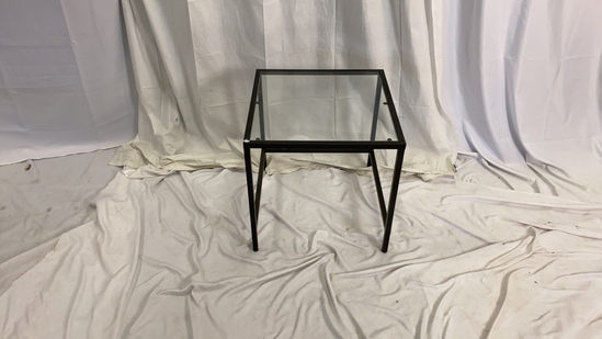 Glass Metal and Wood End Table