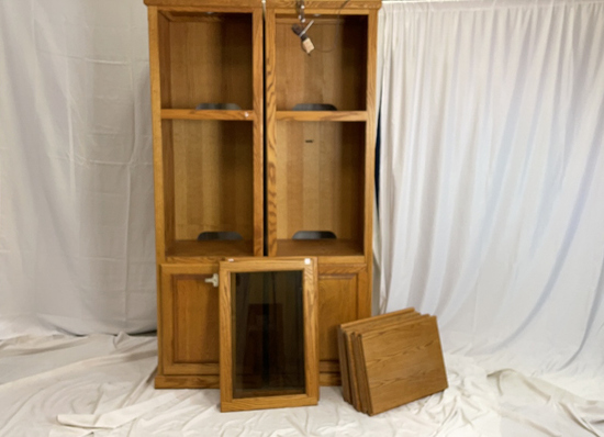 Pair of Oak Towers, Pre Lit and Comes with Shelves