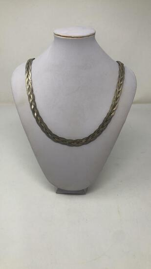 SILVER TONE BRAIDED NECKLACE