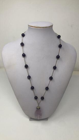 STERLING SILVER & PURPLE STONE NECKLACE