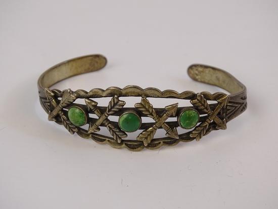 Sterling Navajo Style Turq Cuff Bracelet 16g