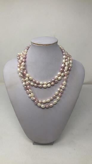 PINK & WHITE PEARL NECKLACE