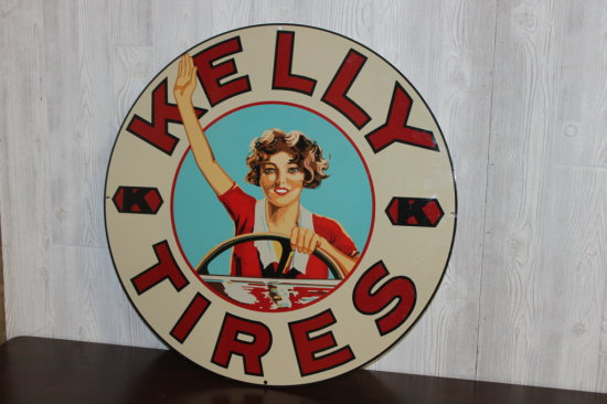 """Kelly Tires Sign, Contemporary, 30"""" HD Steel or Porcelain, Excellent Cond., SS"""